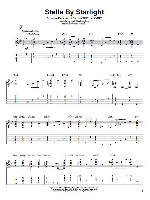 Tablature guitare Stella By Starlight de Victor Young - Tablature Guitare