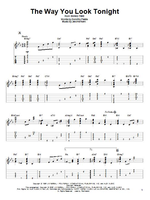 Tablature guitare The Way You Look Tonight de Jerome Kern - Tablature Guitare