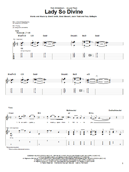 Tablature guitare Lady So Devine de Shinedown - Tablature Guitare