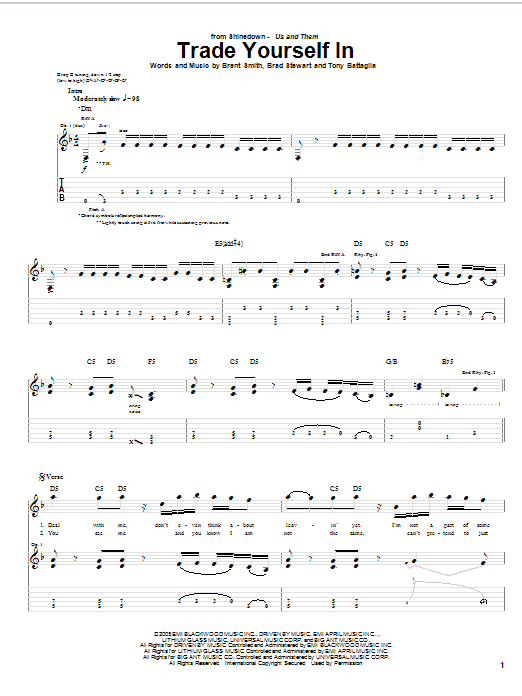 Tablature guitare Trade Yourself In de Shinedown - Tablature Guitare