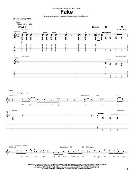 Tablature guitare Fake de Shinedown - Tablature Guitare