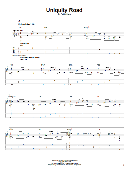 Tablature guitare Uniquity Road de Pat Metheny - Tablature Guitare