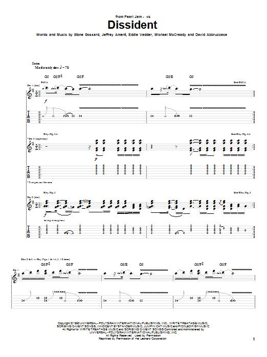Tablature guitare Dissident de Pearl Jam - Tablature Guitare