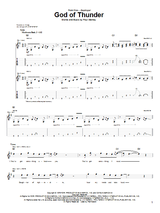Tablature guitare God Of Thunder de KISS - Tablature Guitare