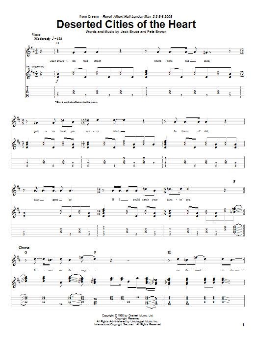 Tablature guitare Deserted Cities Of The Heart de Cream - Tablature Guitare