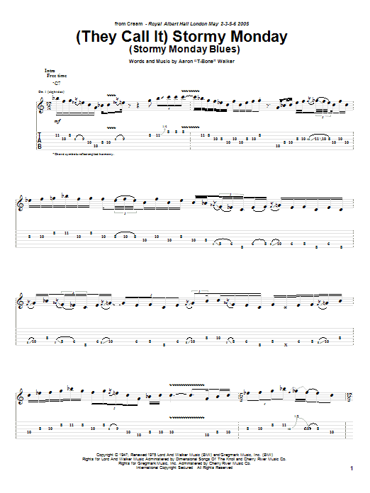 Tablature guitare (They Call It) Stormy Monday (Stormy Monday Blues) de Cream - Tablature Guitare