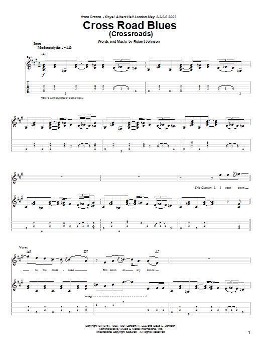 Tablature guitare Cross Road Blues (Crossroads) de Cream - Tablature Guitare