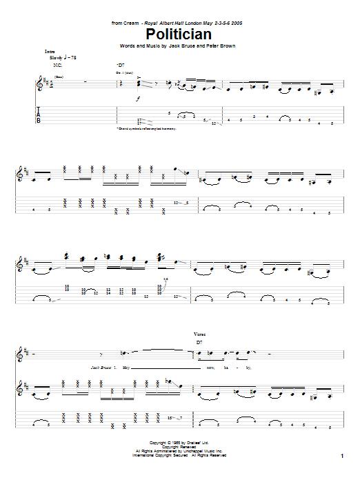 Tablature guitare Politician de Cream - Tablature Guitare