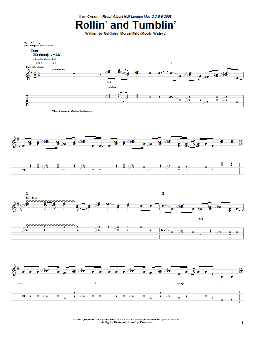 Tablature guitare Rollin' And Tumblin' de Cream - Tablature Guitare