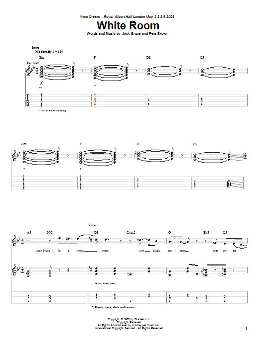 Tablature guitare White Room de Cream - Tablature Guitare