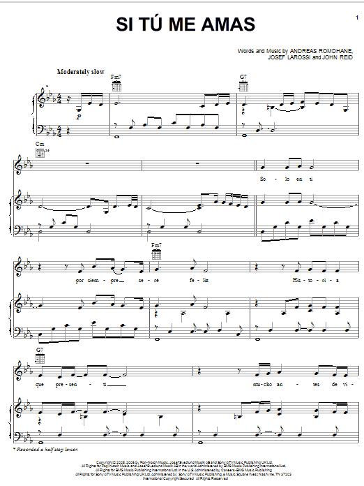 Si tu me amas sheet music direct - Il divo isabel lyrics ...