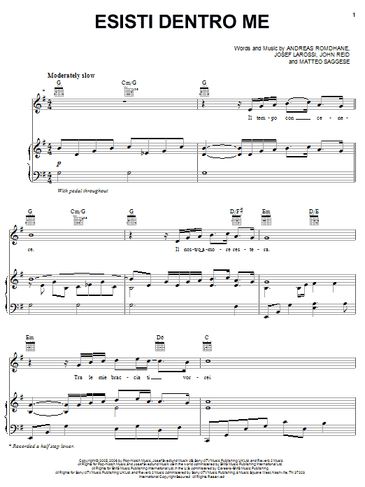 Esisti Dentro Me sheet music for voice, piano or guitar by Matteo Saggese