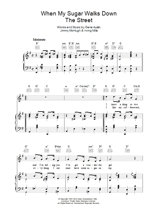 When My Sugar Walks Down The Street sheet music for voice, piano or guitar by Irving Mills