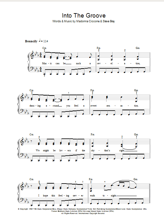 Into The Groove sheet music for voice, piano or guitar by Stephen Bray
