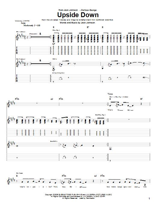 Tablature guitare Upside Down de Jack Johnson - Tablature Guitare