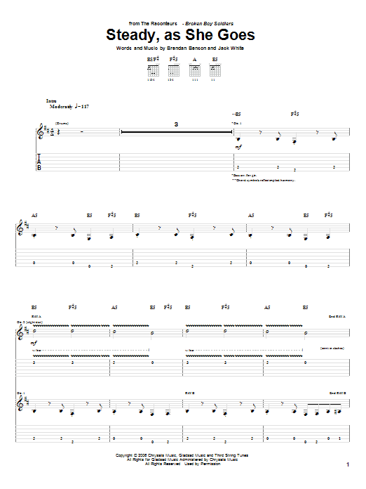 Steady, As She Goes sheet music for guitar solo (tablature) by Jack White