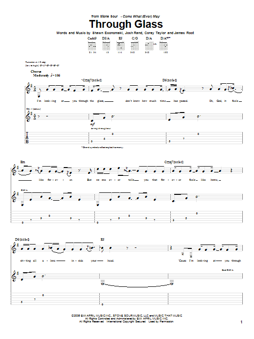 Through Glass sheet music for guitar solo (tablature) by Shawn Economaki