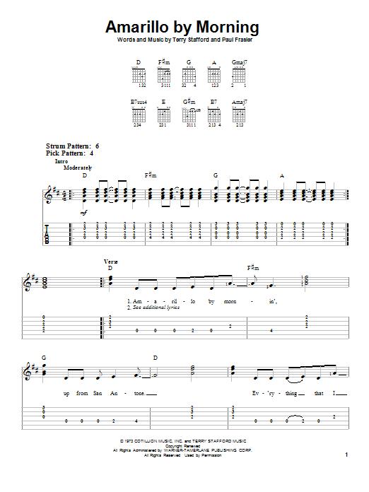Tablature guitare Amarillo By Morning de Terry Stafford - Tablature guitare facile