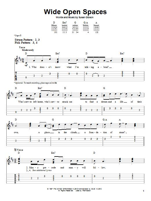 Tablature guitare Wide Open Spaces de Dixie Chicks - Tablature guitare facile
