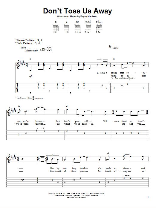 Tablature guitare Don't Toss Us Away de Patty Loveless - Tablature guitare facile