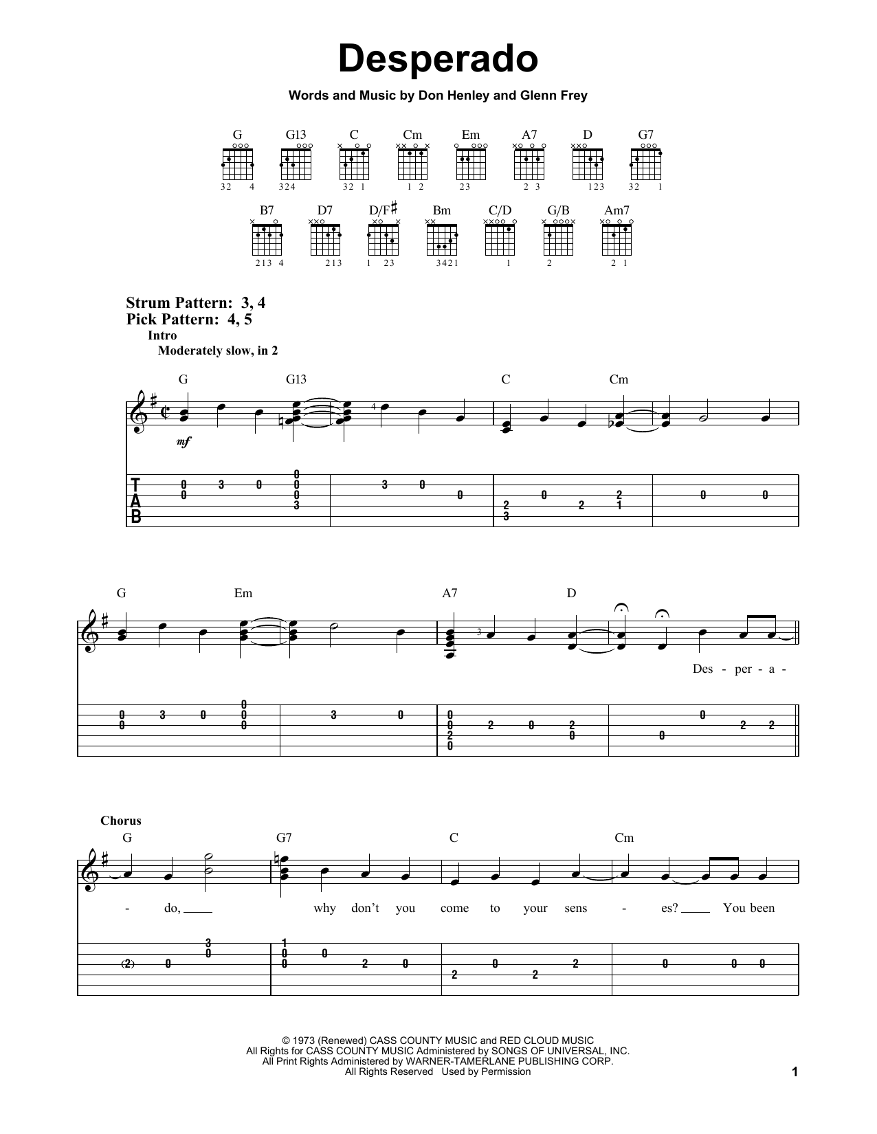 Tablature guitare Desperado de The Eagles - Tablature guitare facile
