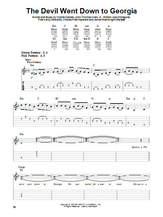 The Devil Went Down To Georgia sheet music for guitar solo (easy tablature) by William Joel DiGregorio