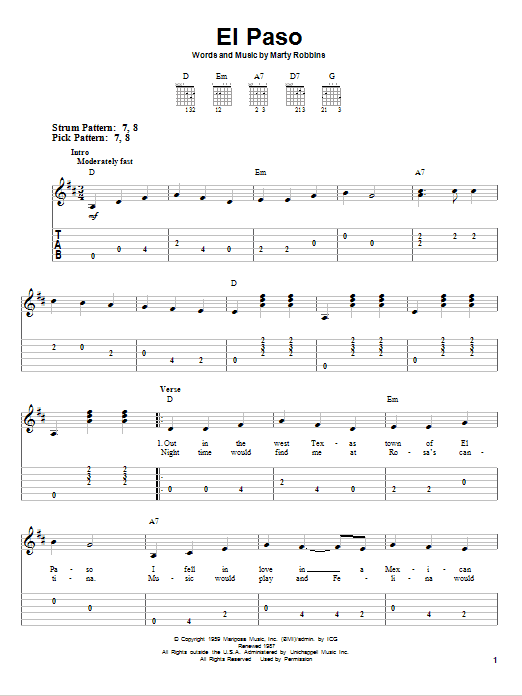 Tablature guitare El Paso de Marty Robbins - Tablature guitare facile