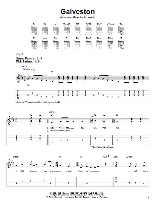 Tablature guitare Galveston de Glen Campbell - Tablature guitare facile