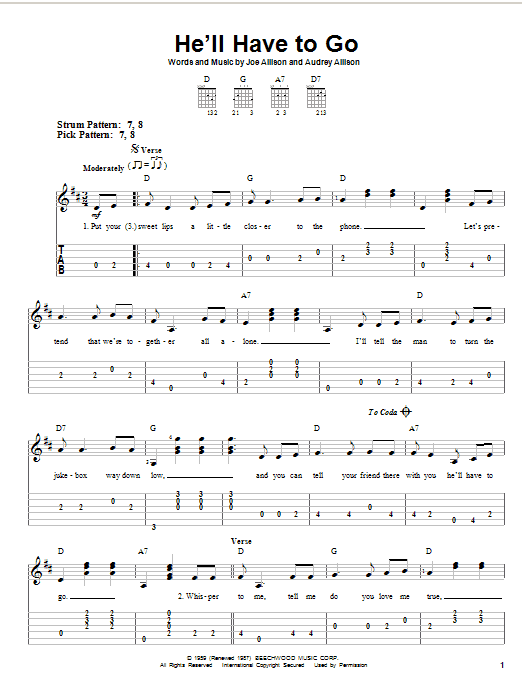 Tablature guitare He'll Have To Go de Jim Reeves - Tablature guitare facile