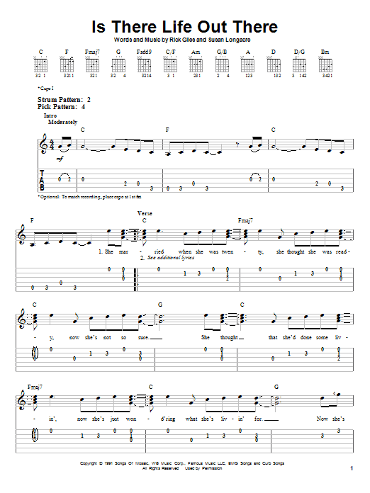 Tablature guitare Is There Life Out There de Reba McEntire - Tablature guitare facile