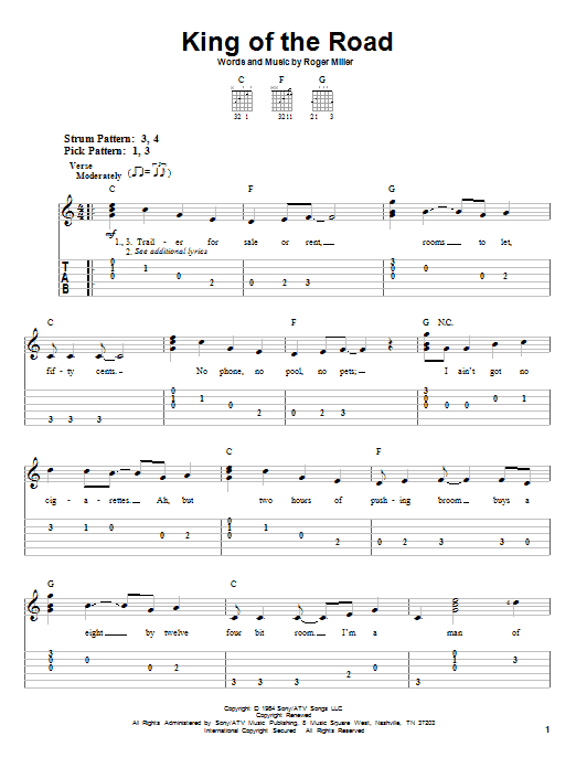Tablature guitare King Of The Road de Roger Miller - Tablature guitare facile