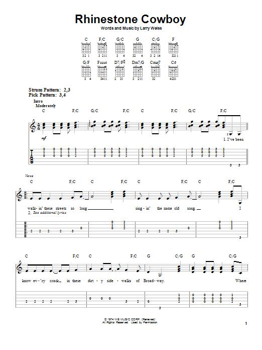Tablature guitare Rhinestone Cowboy de Glen Campbell - Tablature guitare facile