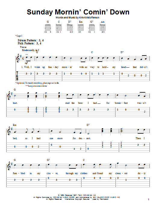 Tablature guitare Sunday Mornin' Comin' Down de Johnny Cash - Tablature guitare facile