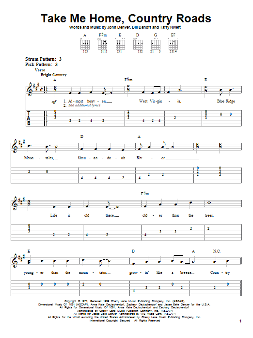 Tablature guitare Take Me Home, Country Roads de John Denver - Tablature guitare facile
