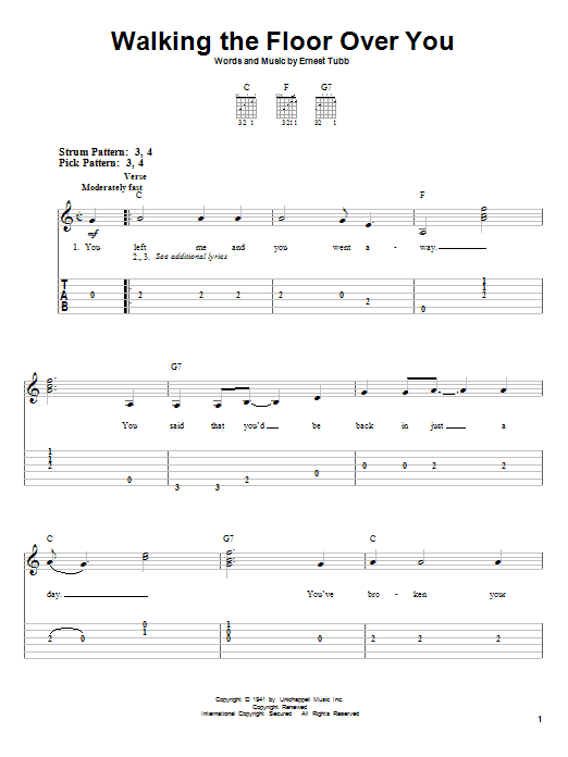Tablature guitare Walking The Floor Over You de Ernest Tubb - Tablature guitare facile
