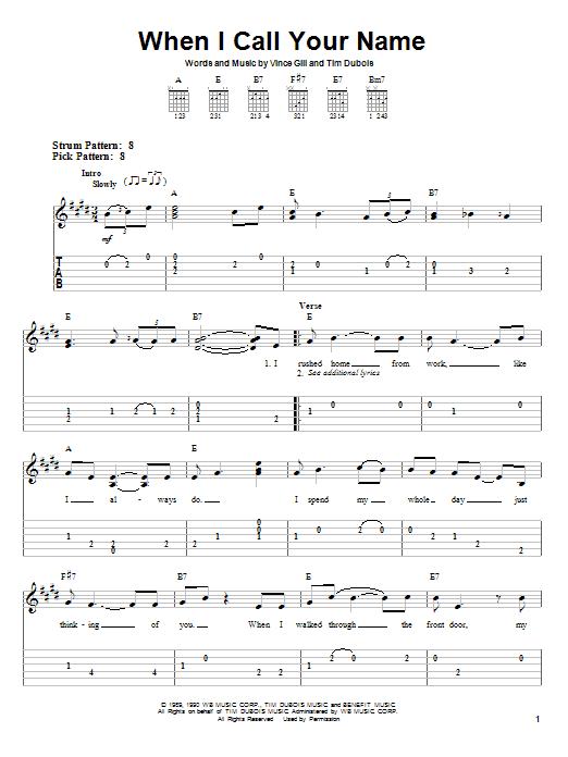 Tablature guitare When I Call Your Name de Vince Gill - Tablature guitare facile