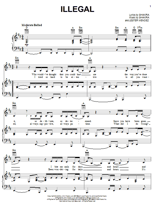 Illegal sheet music for voice, piano or guitar by Lester Mendez