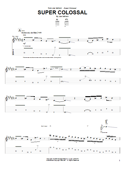 Tablature guitare Super Colossal de Joe Satriani - Tablature Guitare