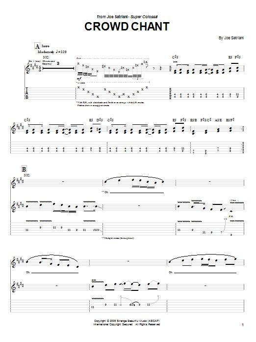 Tablature guitare Crowd Chant de Joe Satriani - Tablature Guitare