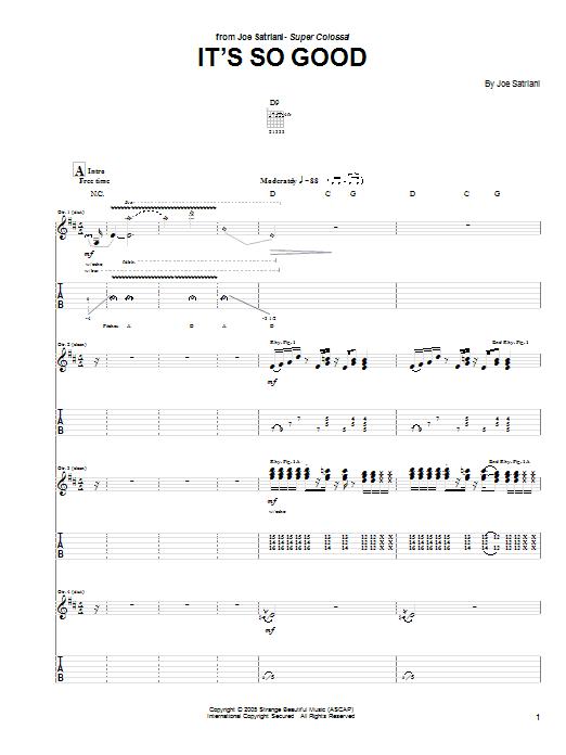 Tablature guitare It's So Good de Joe Satriani - Tablature Guitare