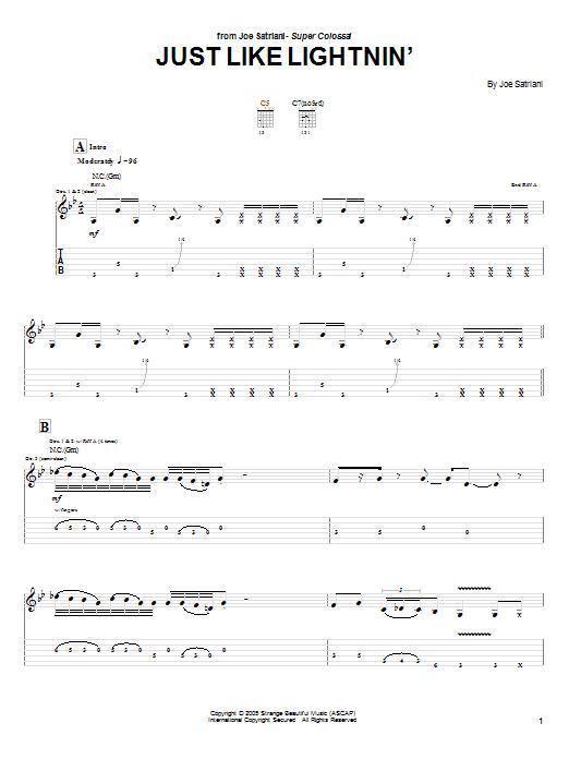 Tablature guitare Just Like Lightnin' de Joe Satriani - Tablature Guitare