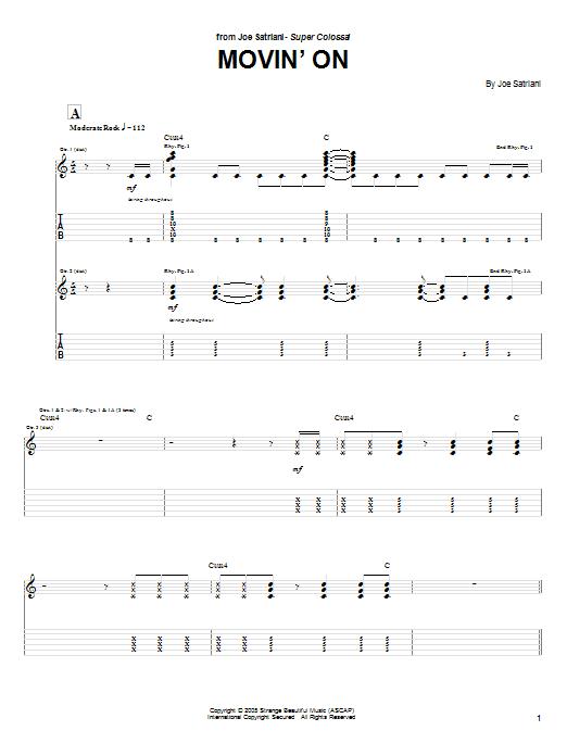 Tablature guitare Movin' On de Joe Satriani - Tablature Guitare