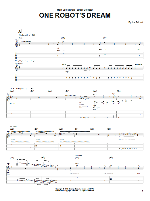 Tablature guitare One Robot's Dream de Joe Satriani - Tablature Guitare