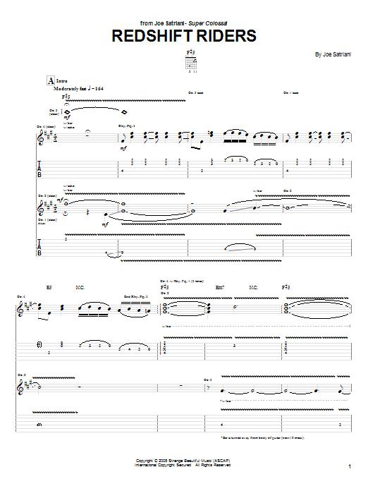 Tablature guitare Redshift Riders de Joe Satriani - Tablature Guitare