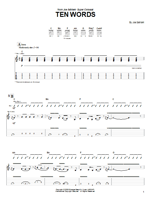 Tablature guitare Ten Words de Joe Satriani - Tablature Guitare