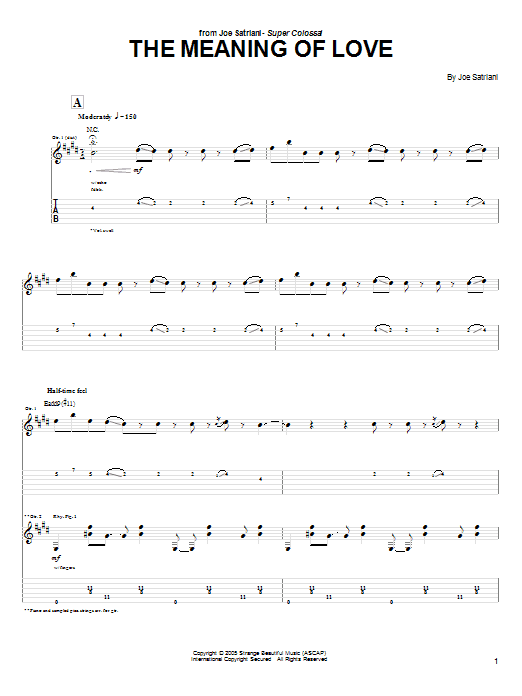 Tablature guitare The Meaning Of Love de Joe Satriani - Tablature Guitare