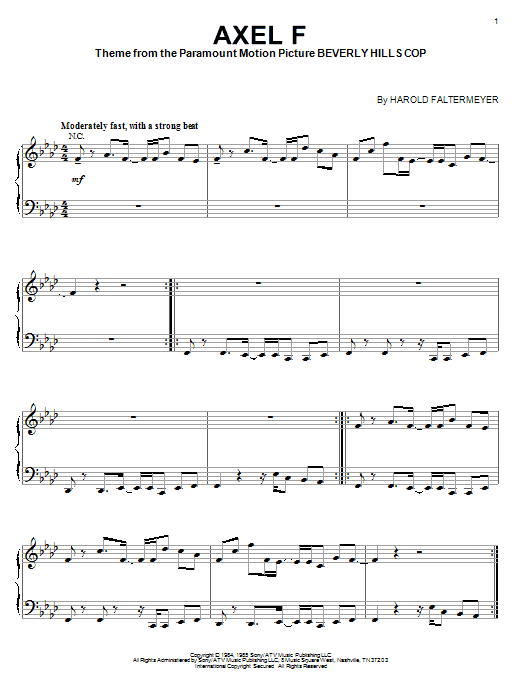 partition piano axel f gratuite