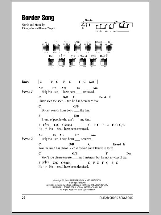 Border Song sheet music for guitar solo (chords, lyrics, melody) by Bernie Taupin