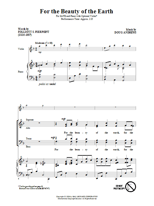 Partition autre For The Beauty Of The Earth de Folliot S. Pierpoint - SATB