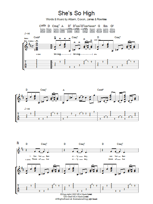 She's So High sheet music for guitar solo (tablature) by Graham Coxon
